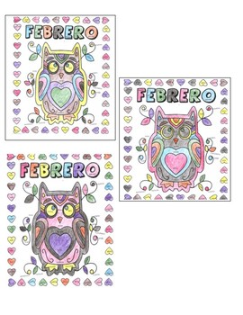 Spanish Valentine's Day / Febrero Color by number style page (3 forms!)
