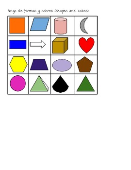 Spanish colors and shapes bingo cards