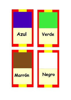 Spanish colors dominoes  ,colours dominoes,6 different colors.MFL