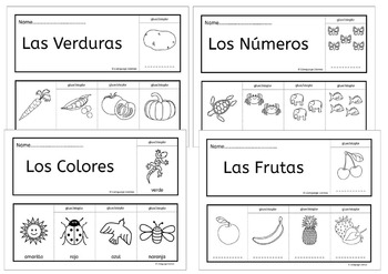 Spanish colors, numbers, fruit, vegetables - fun flipbooks to color and assemble