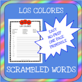 Primary Spanish colors scrambled words worksheet - Los colores