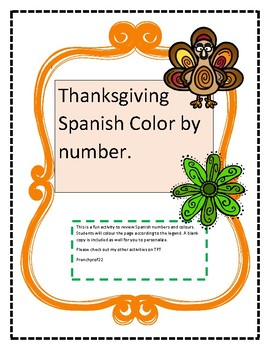 Spanish colour by number Thanksgiving activity