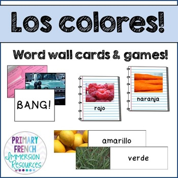 Spanish colours - word wall words and game cards - Los colores