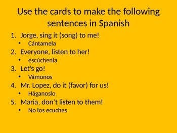 Spanish commands game