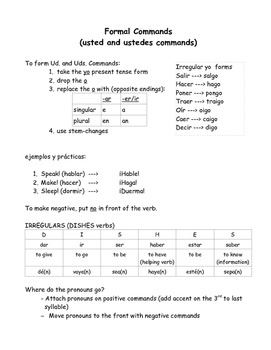Spanish commands packet - los mandatos