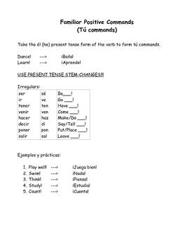 Spanish commands packet - los mandatos