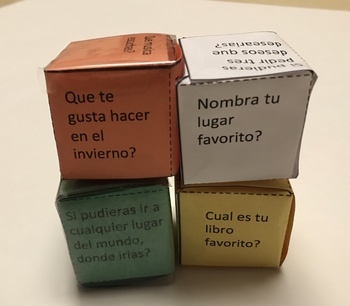 Spanish conversation starters and ice breakers cube activity for students