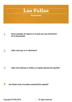 Spanish cultural activities: Las Fallas (in Spanish)