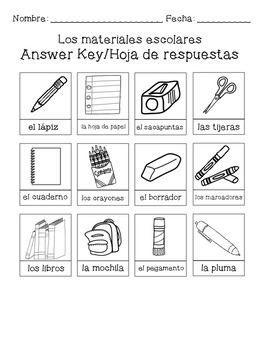 Los materiales escolares - Spanish cut and paste activity