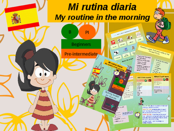 Spanish daily routine in the morning, mi rutina PPT for beginners