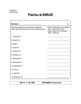 Spanish dates (las fechas) partner speaking activity