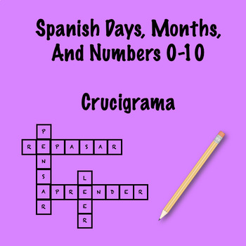 Spanish days, months, and numbers 0-10 crossword