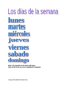 Spanish days of the week Guided Notes