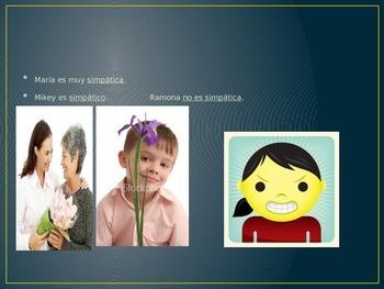 Spanish descriptive adjectives PowerPoint w/ pictures