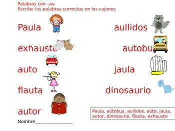 Spanish diphthong au. Diptongos con au.