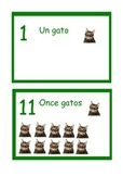 Spanish display number line Animals  ,numbers 1 to 20