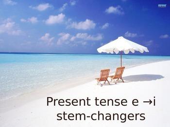 Spanish E to I Stem-changing Verbs Keynote Slideshow Presentation for Mac