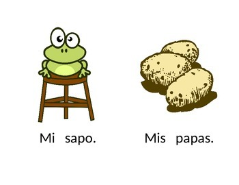 Spanish easy reader with letters  A,E,I,O,U,M,P,S