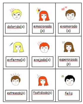 Spanish emotions flashcards (yo estoy)
