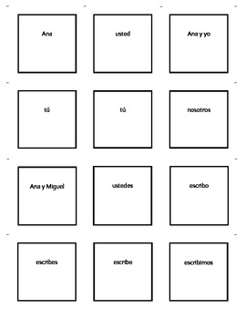 Spanish er and ir verb conjugation and subject pronoun Go Fish card game