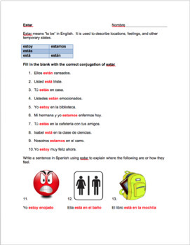 Spanish estar notes and worksheet