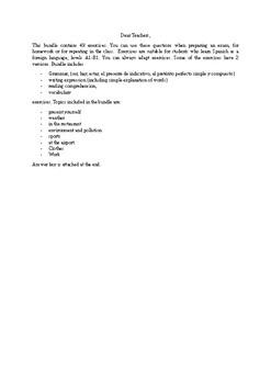 Spanish exams, exercises, homework bundle (Español)