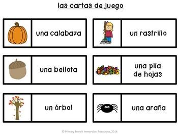 Spanish fall bingo game - Otoño