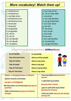 Spanish family, mi familia booklet for beginners