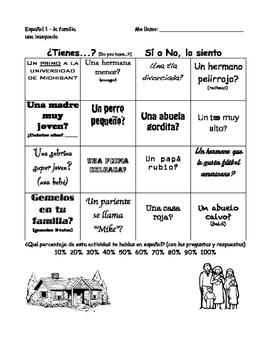 Spanish family speaking activities - actividades de hablar: mi familia