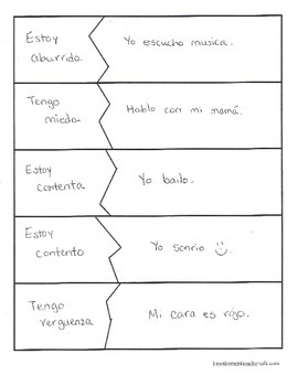 Spanish feelings and expressions matching game