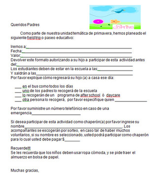 Spanish field trip form for first grade