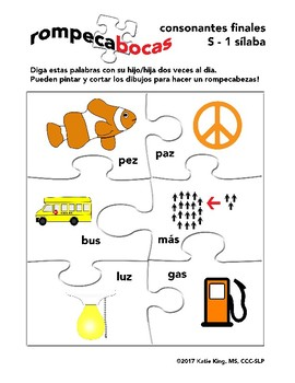 Spanish final consonants value pack- 36 words, 6 speech therapy worksheets