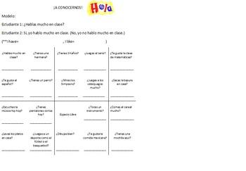 Spanish first day of class bingo activity