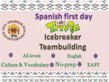Spanish first day of school trivia game  back to school for Spanish