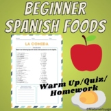 Spanish Food- La Comida Worksheet for Beginners