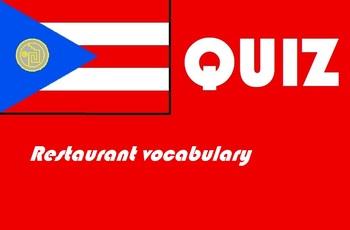 Spanish food and restaurant vocabulary quiz or worksheet