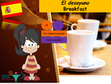 Spanish food breakfast, la comida desayuno PPT for Intermediate