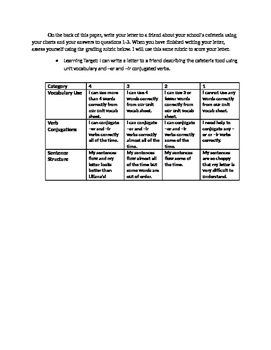 Spanish food unit--Reading & letter writing activity
