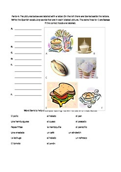 Spanish food vocabulary quiz with color pictures