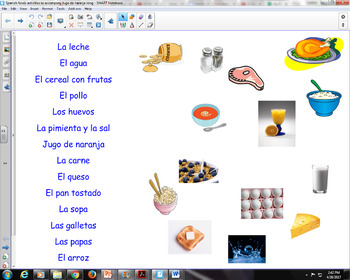 Spanish foods activities: matching, food pyramid, what did the dog eat?, etc.