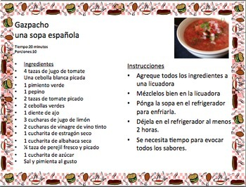 Spanish foods, recipes, and commands gallery walk
