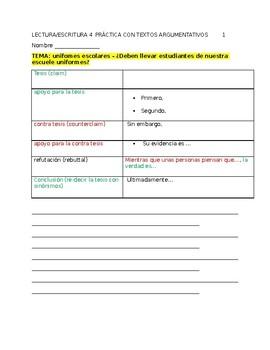Spanish for heritage speakers - argumentative writing practice - 5 topics