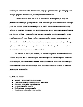 Spanish for heritage speakers - good five paragraph essay worksheet