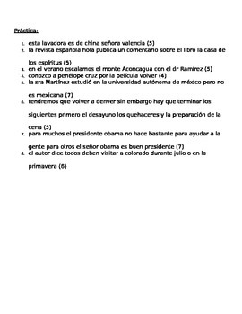 Spanish for heritage speakers mechanics review notes and practice handout