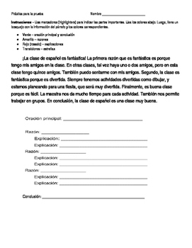 Spanish for heritage speakers - paragraph worksheet #2 or quiz (identify parts)