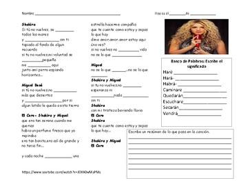 Spanish future tense: Shakira y Miguel Bose with grammar i