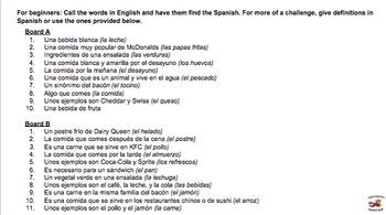 Spanish game: Foods (for large classes!)