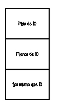 Spanish greater than, less than, and equal to 10 sorting