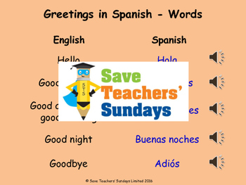 Spanish greetings Lesson plan, PowerPoint (with audio) and Flashcards