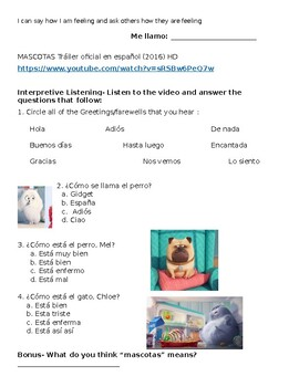 Spanish greetings multiple choice listening activity with Secret Life of Pets